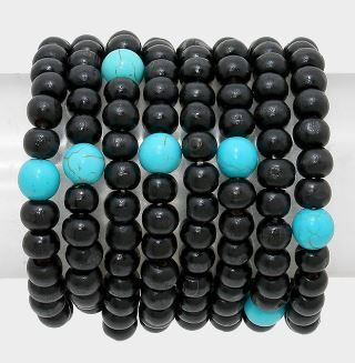 Stretch Wood Beads - Black/Turquoise