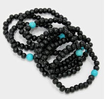 Load image into Gallery viewer, Stretch Wood Beads - Black/Turquoise