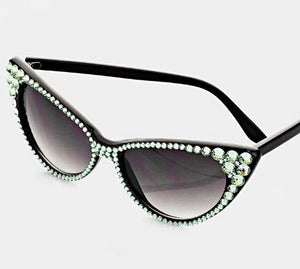 Rhinestone Cat Sunglasses - Black