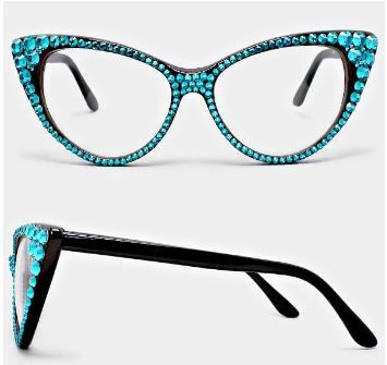 Fashion Crystal Eyewear-Black/Aqua