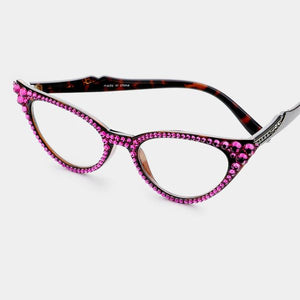 Cat Eye Fashion Crystal Readers Fuchsia/Brown Frames