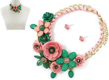 Load image into Gallery viewer, Pink & Green Flower Necklace Set