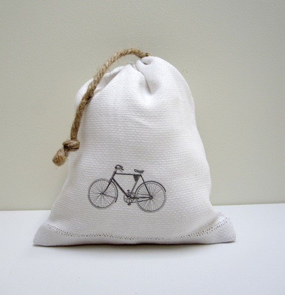 VINTAGE BICYCLE LINEN BAG handmade by P I ´ L O