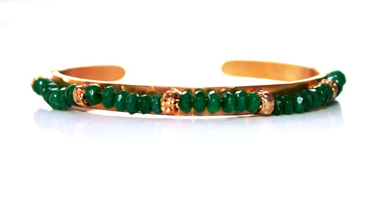 EMERALD BEAD ON GOLD handmade by SiM