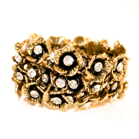 VINTAGE FLOWER GOLD PLATED W/ GLASS DIAMONDS