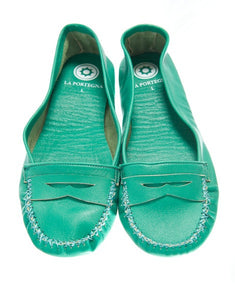 WOMEN GREEN SLIPPERS handmade by LA PORTEGNA