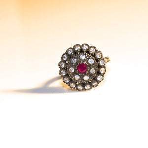 VINTAGE ROUND RUBY DIAMOND RING