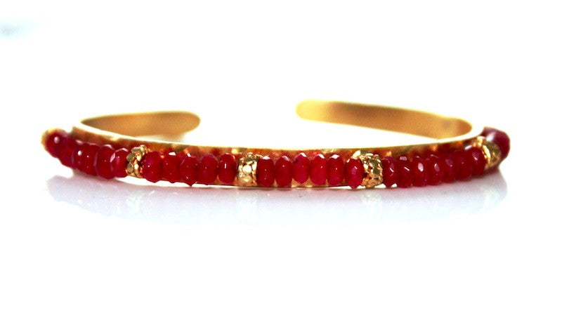 RUBY BEAD ON GOLD handmade by SiM