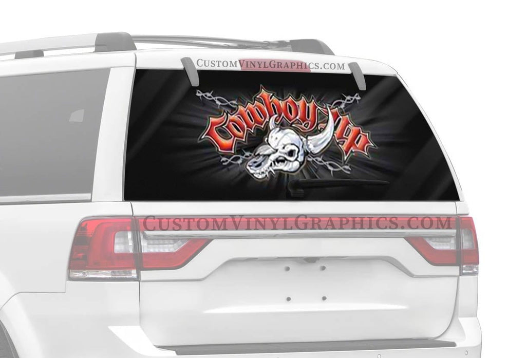 Vantage Point Cowboy Up Skull Rear Window Graphic