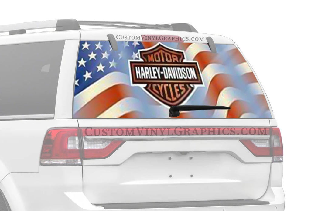 Vantage Point Americana Bar And Shield Centered Harley-Davidson Rear Window Graphic