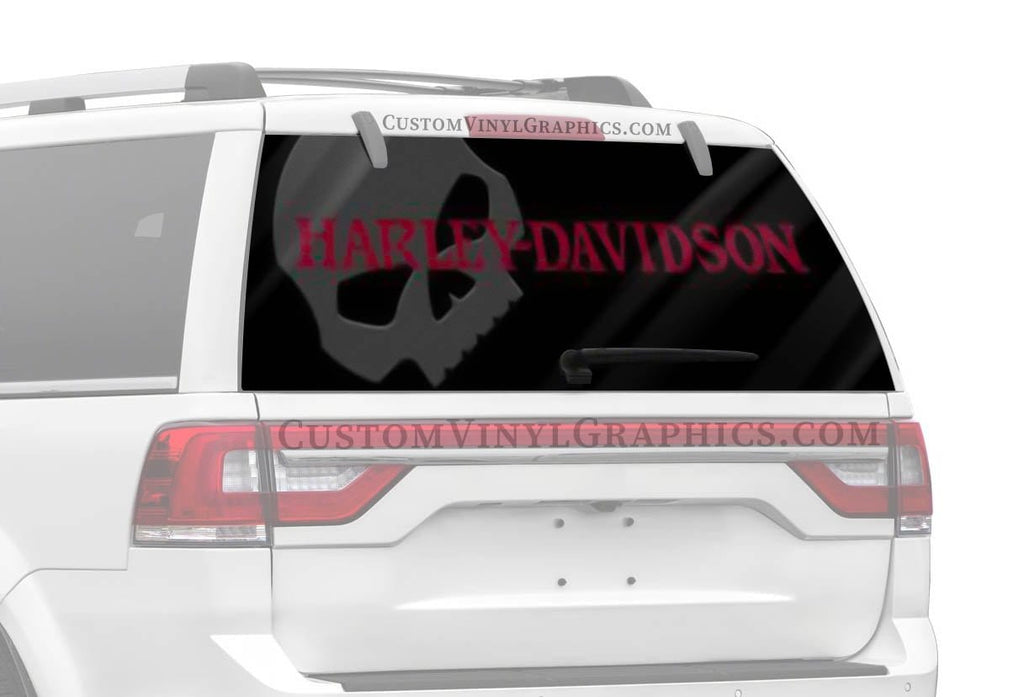 Vantage Point Skull Wing Red Letter Harley-Davidson Rear Window Graphic