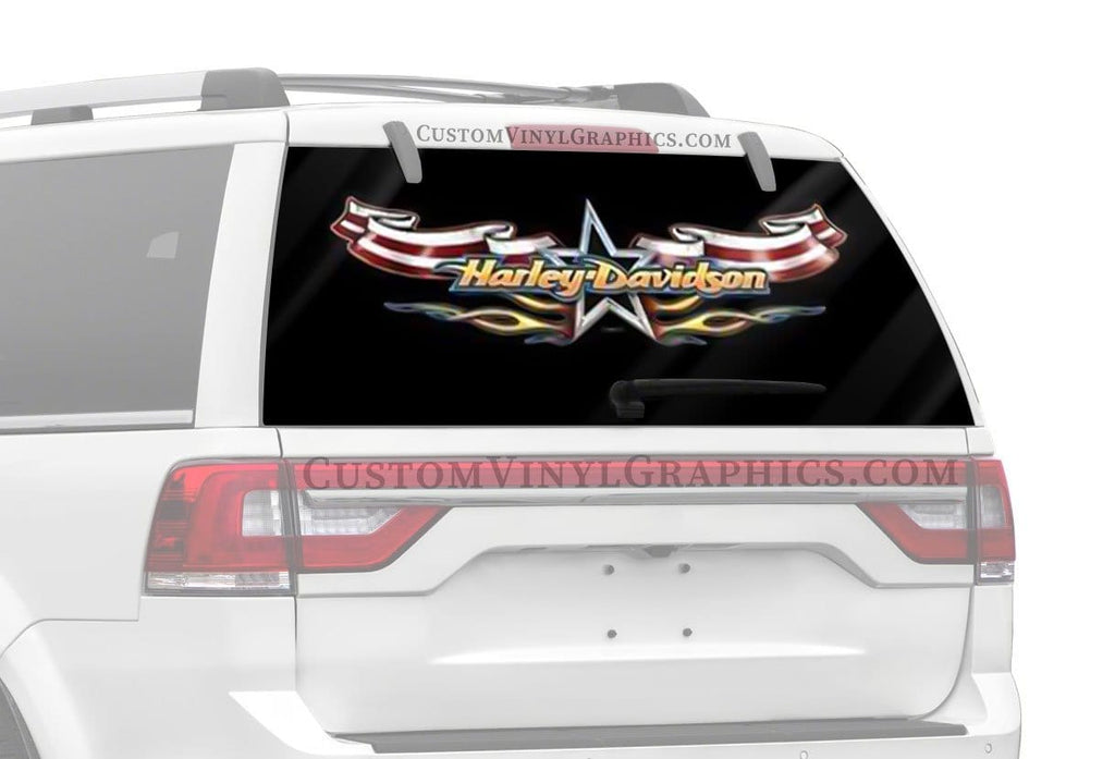 Flag Flame Harley-Davidson Rear Window Graphic