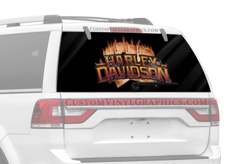 Vantage Point Flaming Ace Harley-Davidson Rear Window Graphic