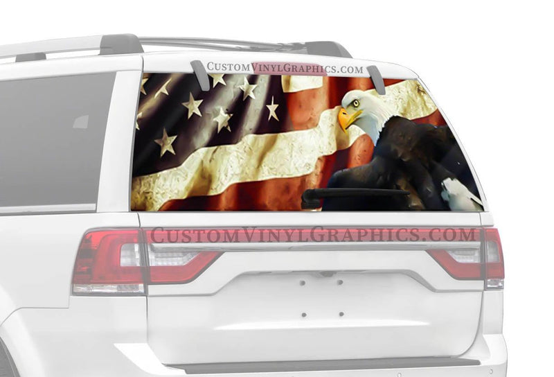 CVG Exclusive Rears Vintage Flag Eagle Rear Window Graphic