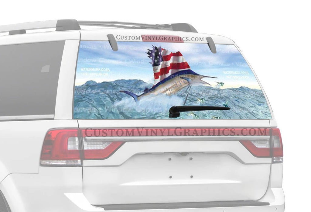 Window Canvas Red White and Blue Rear Window Graphic