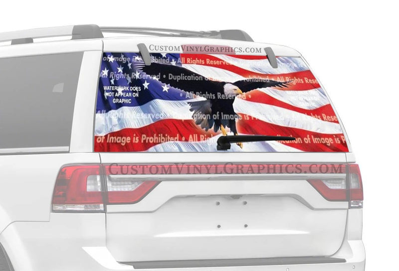 ClearVue Graphics Eagle In Flight Flag Rear Window Graphic