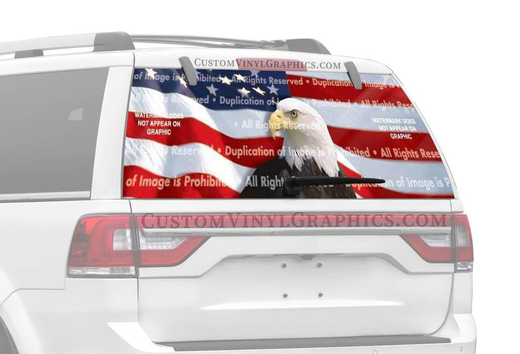 ClearVue Graphics US Flag 1 Center Rear Window Graphic