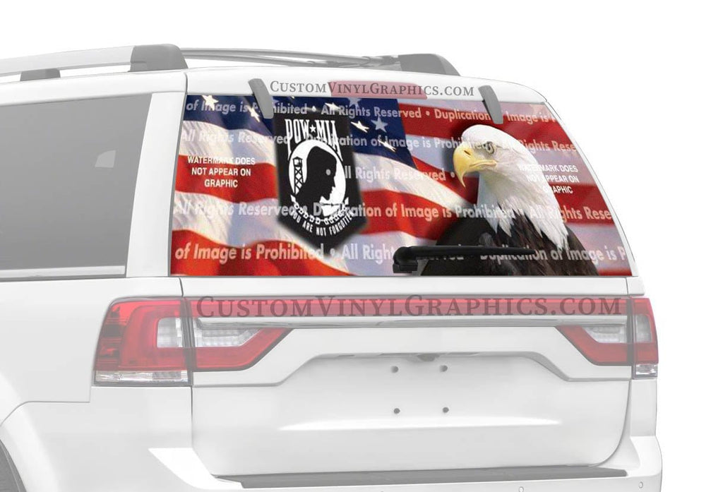 ClearVue Graphics US Flag 1 POW Rear Window Graphic