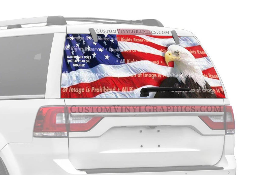 ClearVue Graphics US Flag 2 Eagle Rear Window Graphic