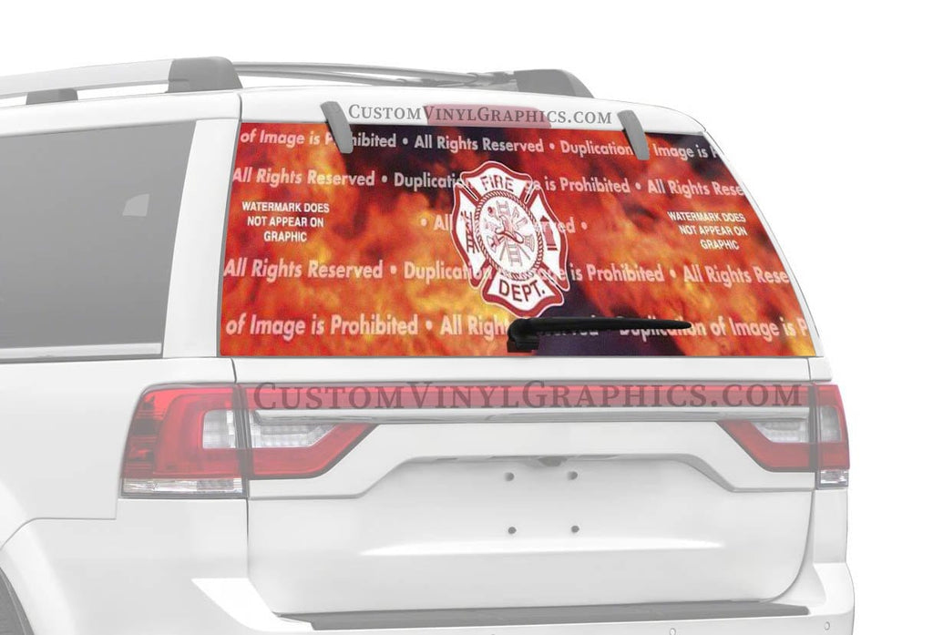 ClearVue Graphics Fire Maltese Rear Window Graphic