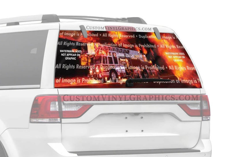ClearVue Graphics Ladder Truck Rear Window Graphic