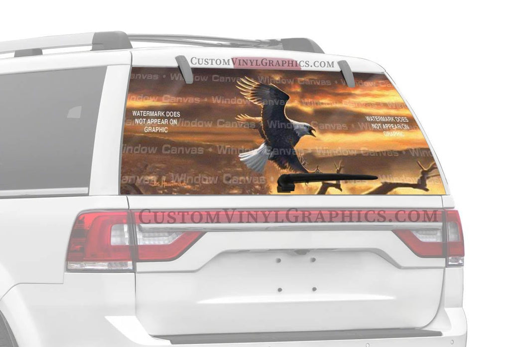 Window Canvas Sunset Bald Eagle Rear Window Graphic