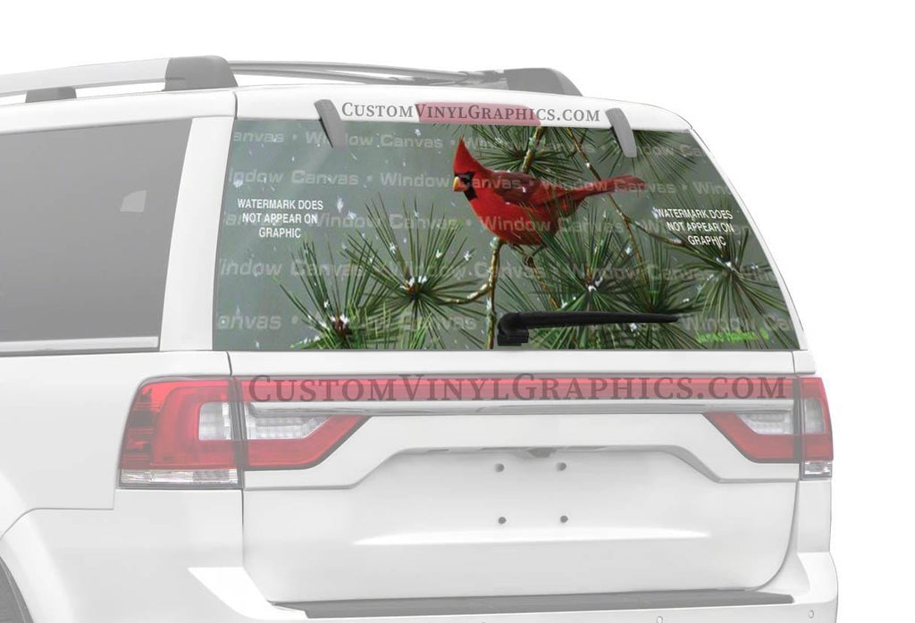 Window Canvas Winter Snowfall Cardinal Rear Window Graphic