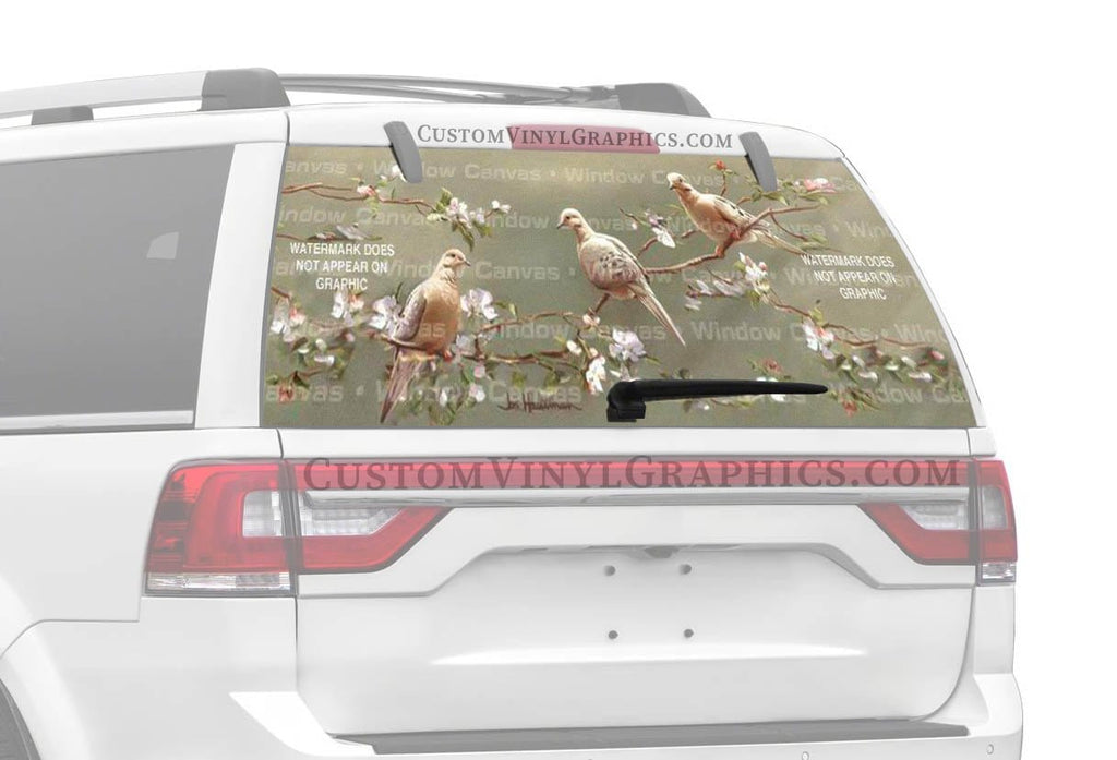 Window Canvas Doves and Apple Blossoms Rear Window Graphic