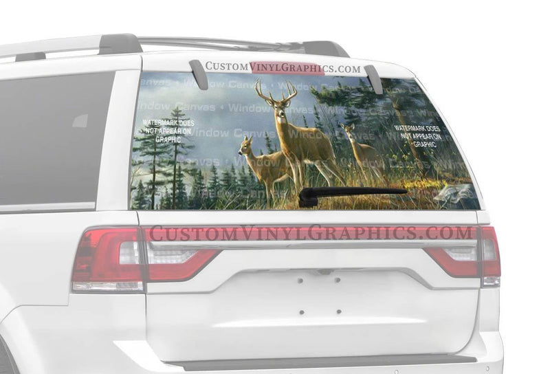 Window Canvas Autumn Whitetails Rear Window Graphic