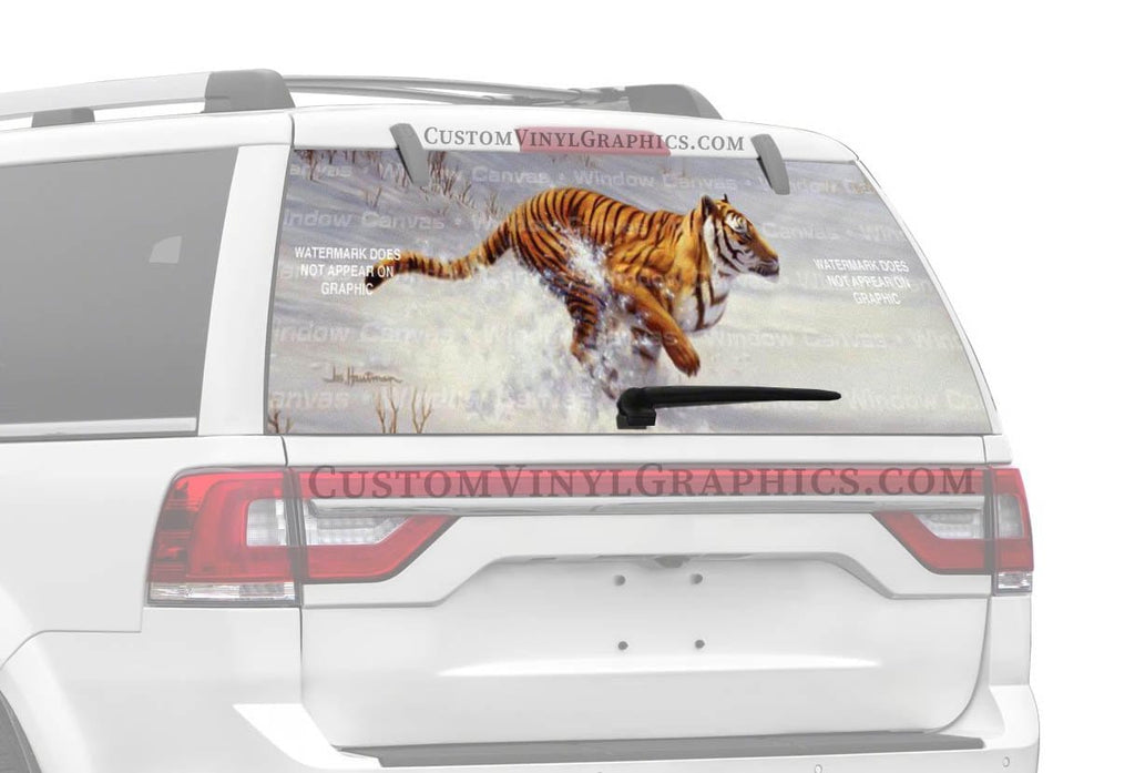 Window Canvas Siberian Tiger Charging Rear Window Graphic