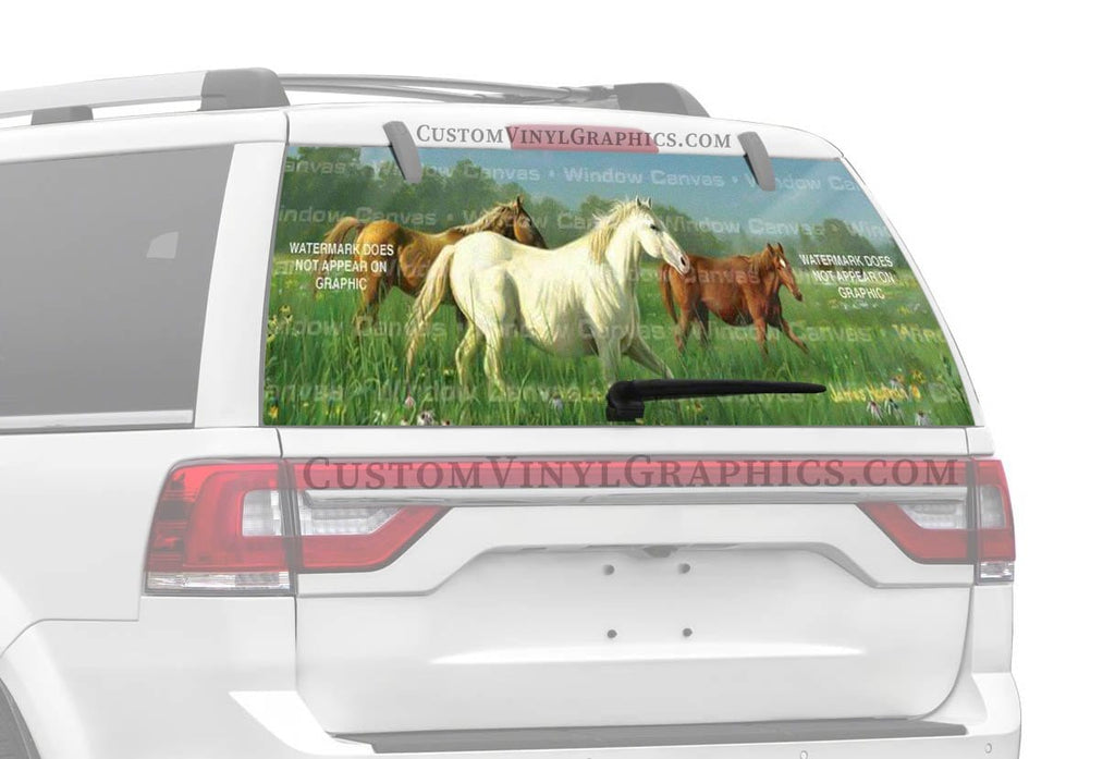 Window Canvas Prarie Meadow Horses Rear Window Graphic