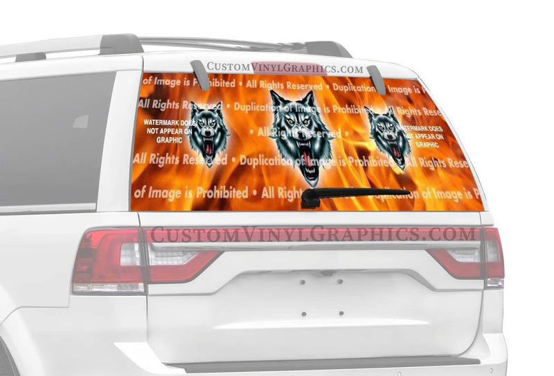 ClearVue Graphics Wolf Fang Rear Window Graphic