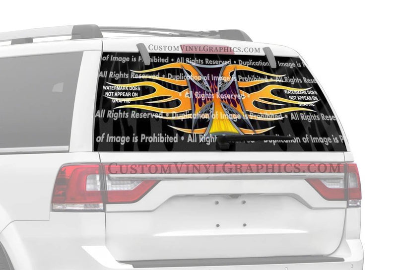 ClearVue Graphics Flame Maltese 2 Rear Window Graphic