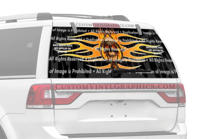 ClearVue Graphics Flaming Ace Skull Rear Window Graphic