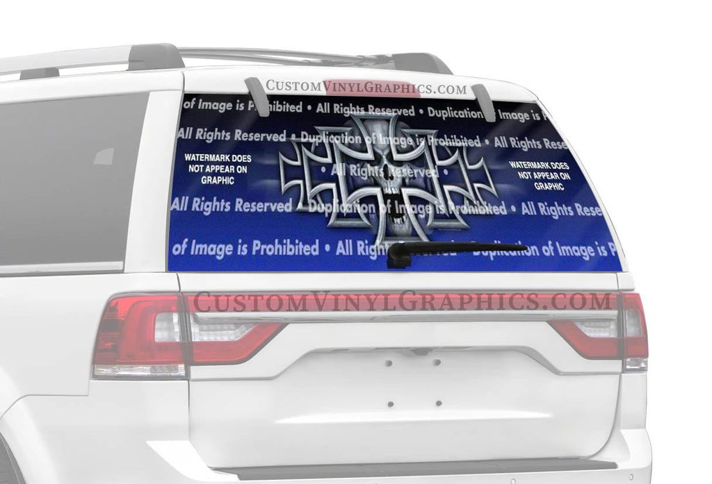 ClearVue Graphics Iron Cross Blue Rear Window Graphic