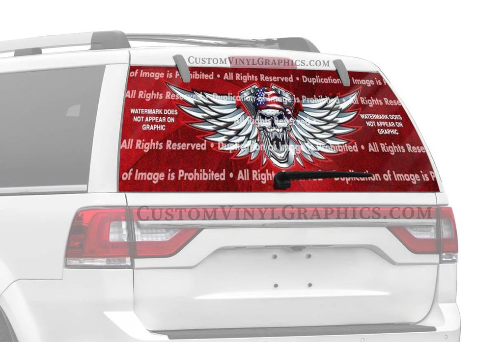 ClearVue Graphics V Twin Skull Rear Window Graphic