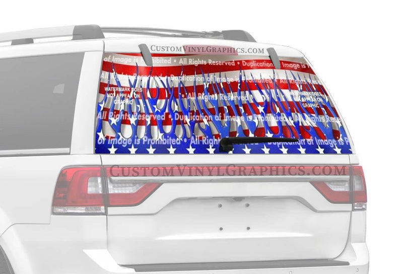 ClearVue Graphics Patriotic Flames Rear Window Graphic