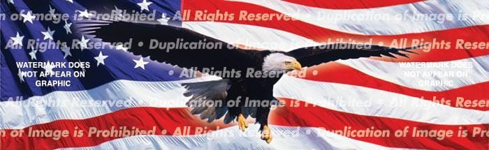 Eagle In Flight Flag Rear Window Graphic - Custom Vinyl Graphics