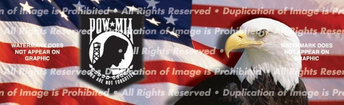 US Flag 1 POW Rear Window Graphic - Custom Vinyl Graphics