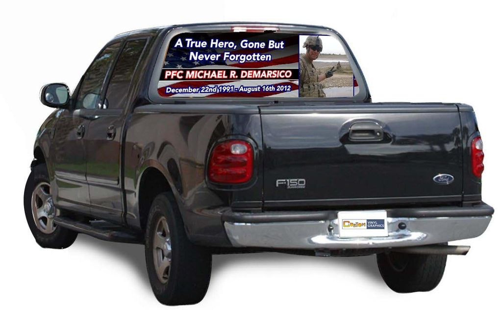 Honor a Fallen Soldier Custom Rear Window Graphic - Custom Vinyl Graphics