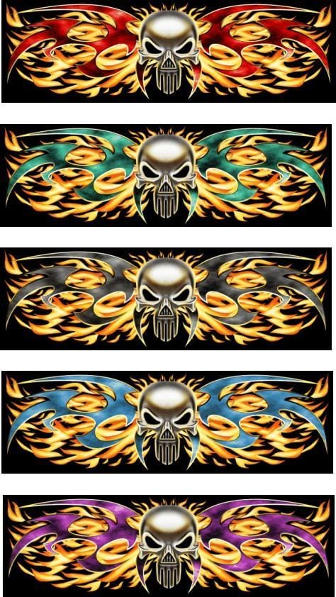 Tribal Flame Punisher Rear Window Graphic - Custom Vinyl Graphics