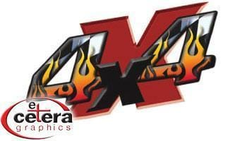 4x4 Flames Vinyl Graphic - Custom Vinyl Graphics