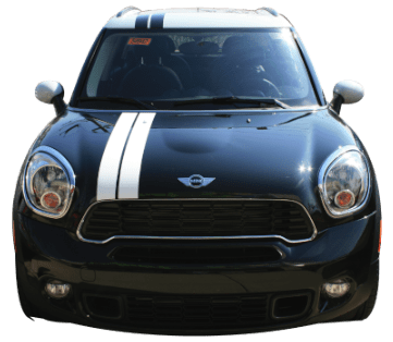 Mini Cooper Double Rally Stripe - Roof - Custom Vinyl Graphics