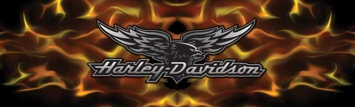 Flame Chrome Eagle Harley-Davidson Rear Window Graphic - Custom Vinyl Graphics