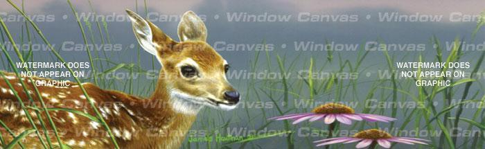 Fawn And Flowers Rear Window Graphic - Custom Vinyl Graphics