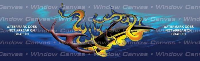Flaming Tribal Rear Window Graphic - Custom Vinyl Graphics