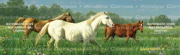 Prarie Meadow Horses Rear Window Graphic - Custom Vinyl Graphics