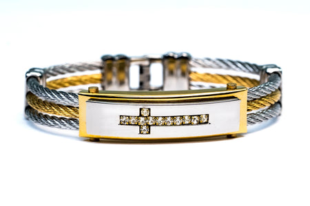 Cross Bracelet with Cubic Zirconia (A5) .