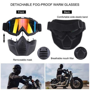 MOTORCYCLIST FULL FACE MASK GOGGLES .