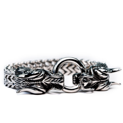 Stainless Steel Double-Headed Dragon Bracelet .